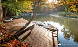A creatively designed Bamboo X-treme dock on the edge of a lake