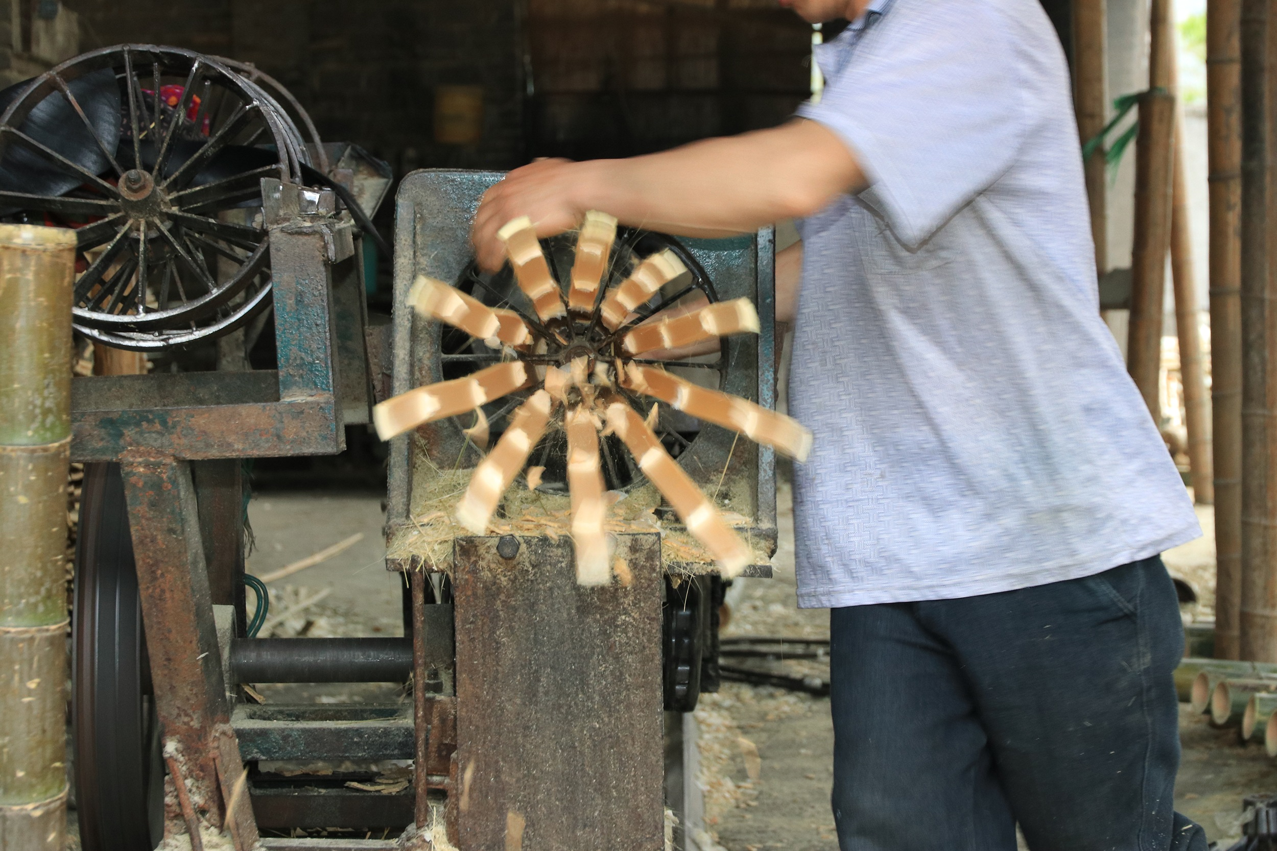 Bamboe strip productie